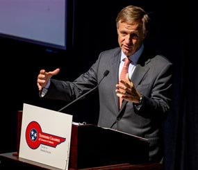 In this March 25, 2014, file photo, Tennessee Gov. Bill Haslam speaks at a luncheon in Nashville, Tenn. The Republican governor on Thursday, May 22, 2014, signed a bill into law to allow the state to electrocute inmates on death row in the event that drugs used for lethal injections become unavailable. (AP Image)