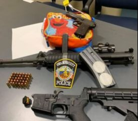 This photo shows the weapons found during the stop. (Photo/Swampscott Police)