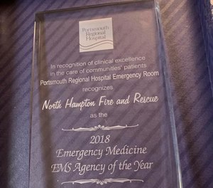 North Hampton fire received PRH's Agency of the Year award based on patient care report data that showed North Hampton's paramedics and advanced EMTs had the highest success rate with procedures performed on patients in the field.