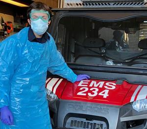 UC Davis Student EMT Matt Kenaston, a senior, prepares to pick up fellow students heading to quarantine.