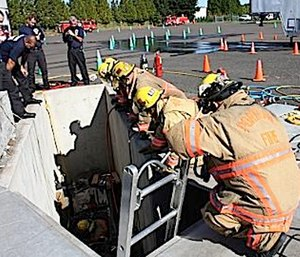 Establishing safe working areas will minimize the potential for responders falling over a drop off.