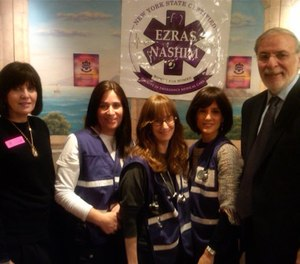 Members of the Brooklyn all-female Orthodox Jewish paramedic team Ezras Nashim with New York State Assemblyman Dov Hikind (right). Ezras Nashim is seeking to establish an ambulance service to serve Orthodox Jewish women in two Brooklyn neighborhoods, which are currently covered by an all-male service. (Photo/Chaimgreen, Wikimedia Commons)