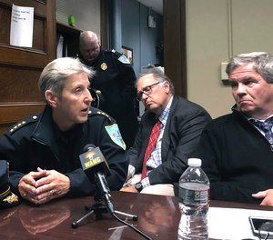 Police Commissioner Cheryl Clapprood addresses councilors' concerns about government use of facial recognition technology in surveillance cameras during a meeting in Springfield, Mass.