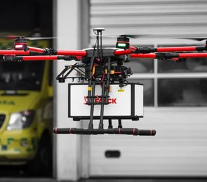 Ambulance company Falck says it plans to carry out drone flights with paramedic pilots on board by 2025, and has already begun test flights of remotely-controlled drones.