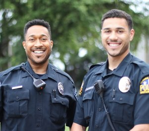 Winston Edmondson, left, is a police officer in Lake Dallas and his son, Christian, is a police officer in Flower Mound.