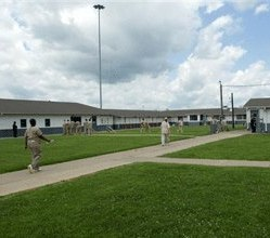 Inmates walk through the court yard to the dorms at Western Kentucky Correctional, in Fredonia, Ky. (AP Photo/Daniel R. Patmore)