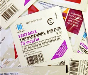 Different brands and dosages of Fentanyl patches. (AP Photo/Tom Gannam)