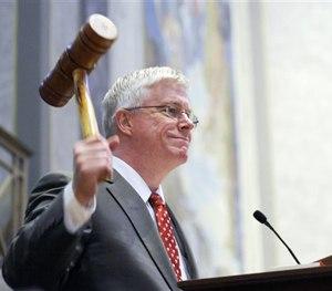 In this Sept. 6, 2011, file photo Missouri Republican Lt. Gov. Peter Kinder gavels in the Missouri Senate in Jefferson City, Mo.