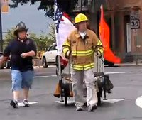 Video: Marine veteran treks country for fallen firefighters