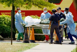 Health workers remove the body of a Chicago resident who died in a major heat wave in July 1995. Image: AP Photo/Mike Fisher
