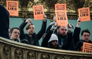 Protestors voice their displeasure during a New York City Council hearing on Amazon's plan to locate a headquarters in the city. Image: Drew Angerer/Getty Images
