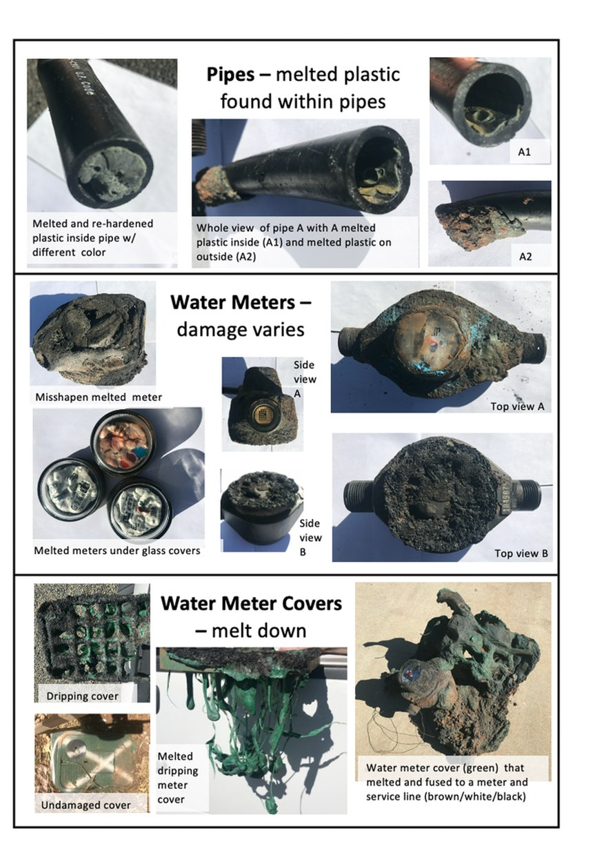 Pipes, water meters and meter covers after wildfires destroyed them.