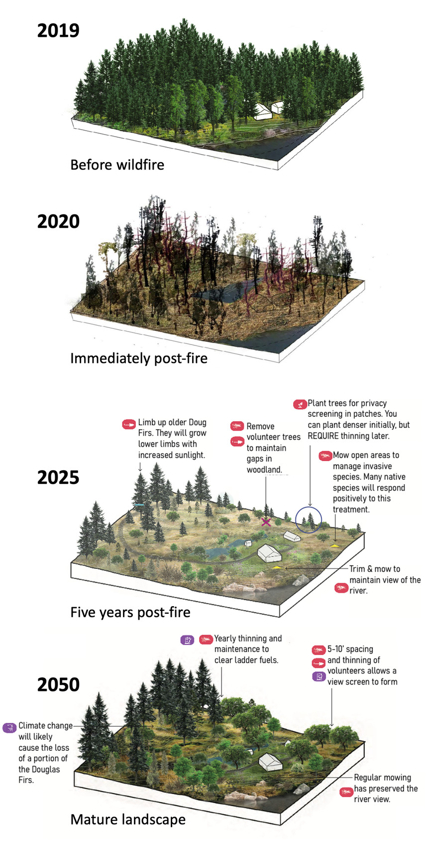 University of Oregon landscape architecture students worked with landowners whose homes were destroyed in the 2020 Holiday Farm Fire to help them develop greater resilience to future wildfires.