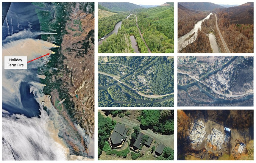 Images during, before and after Oregon's Holiday Farm Fire, which burned 170,000 acres and destroyed 768 homes and other structures in 2020, show the landscape challenges left behind.