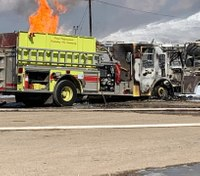 Texas fire truck destroyed in oil fire
