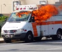 Video: Pa. ambulance catches fire; no injuries