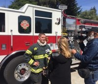 Probationary firefighter pulls fire captain to safety after roof collapse