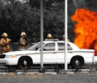 Firefighter PPE is needed at all times when dealing with a car fire
