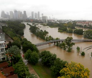 Hurricane Harvey brought record rainfall to southeast Texas in August 2017. (Karen Warren/Houston Chronicle via AP)