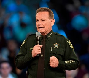 Broward County Sheriff Scott Israel speaking before a CNN town hall broadcast, at the BB&T Center, in Sunrise, Fla.