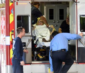 A shooting victim arrives at Broward Health Trauma Center in Fort Lauderdale, Fla.