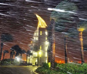 Trees sway from heavy rain and wind from Hurricane Matthew in front of Exploration Tower early Friday in Cape Canaveral, Fla. (Craig Rubadoux/Florida Today via AP)