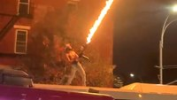 Video: Man shoots flamethrower from top of city bus; NYPD investigating