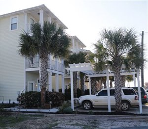 This Saturday, March 28, 2015 photo shows a rental home, foreground, along Thomas Drive in Panama City Beach, Fla. where seven people were injured.