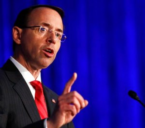 In this June 20, 2017 file photo, Deputy Attorney General Rod Rosenstein speaks in Bethesda, Md. (AP Photo/Jacquelyn Martin, File)