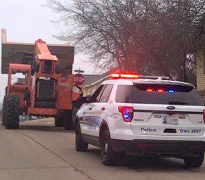 A 23-year-old man was arrested Tuesday morning while he led police on a pursuit in a 15-ton forklift. (Photo/Enid Police Department)