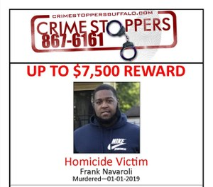 Frank Navaroli III was shot and killed on Jan. 1, 2019. Navaroli's family claims in a new lawsuit that EMS providers, police and hospital staff all failed to realize the 27-year-old had a gunshot wound, delaying proper treatment. (Photo/Crime Stoppers Buffalo)