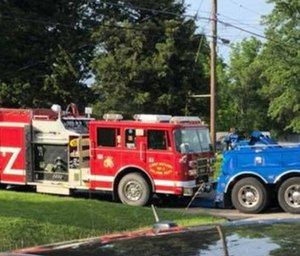 A Camp Jackson fire truck caught fire inside the fire station Sunday afternoon.