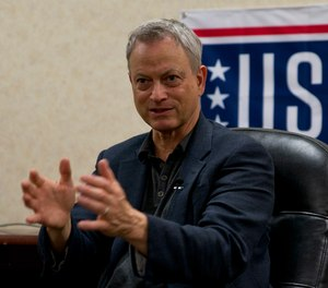 Gary Sinise explains why he started the Gary Sinise Foundation during a meeting with military and local media at Little Rock Air Force Base, Ark., April 29, 2016.