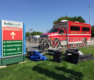 Green Bay Fire Department incident command unit staged at the start/finish area of the Bellin 10K.