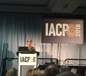 In this photo, Debra A. Dreisbach speaks to the crowd during a session at IACP 2018.