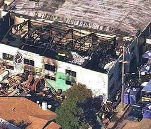 This Dec. 3, 2016 file image from video provided by KGO-TV shows the Ghost Ship Warehouse after a fire swept through the Oakland, Calif., building.