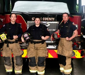 Fire Captain Elizabeth VanBuren (right) and Firefighter-EMTs Syndal Tillotson (left) and Brianna Depp (center) make up Glynn County Fire Rescue's first all-female crew. The crew began working together this November. (Photo/Glynn County Fire Rescue Facebook)