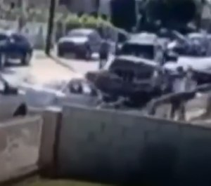 A still image from a grainy video shows the moments surrounding Dijon Kizzee's fatal encounter with Los Angeles sheriff's deputies. (Photo/Los Angeles County Sheriff's Office)