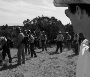 Director Joseph Kosinski on set where the cast is training with a former Granite Mountain hotshot firefighter.