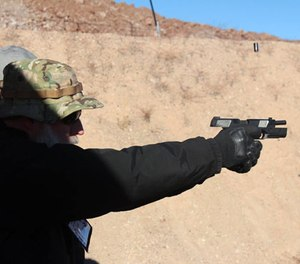 PoliceOne Editor at Large Doug Wyllie gets to slide lock after he finishes off a magazine with the brand new Hudson H9. The brass can be seen floating in the air above the ejection port, yet the barrel of the gun is dead-horizontal. The H9 is a very fun gun to shoot indeed.