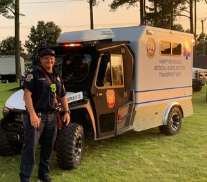 Chesapeake Firefighter/Paramedic Shaun McCoy poses with the Medical Rapid Access Transport vehicle in a post from his Facebook page.