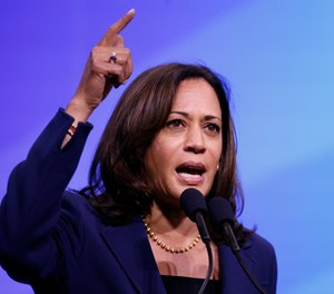Democratic presidential candidate Sen. Kamala Harris, D-Calif., speaks during the New Hampshire state Democratic Party convention, Saturday, Sept. 7, 2019, in Manchester, N.H. (AP Photo/Robert F. Bukaty)