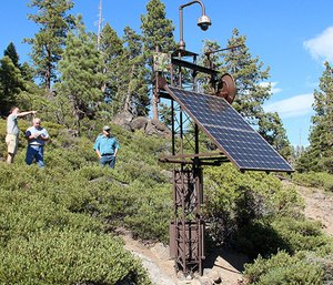 This monitoring station overlooking the north shore of Lake Tahoe is one of many designed, built and maintained by the Nevada Seismological Lab at the University of Nevada, Reno. (Photo/UNR)