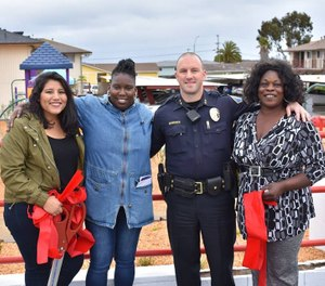 Deputy chief Nick Borges is pictured with residents from the Del Monte Manor in Seaside, California. (Photo/Nick Borges)