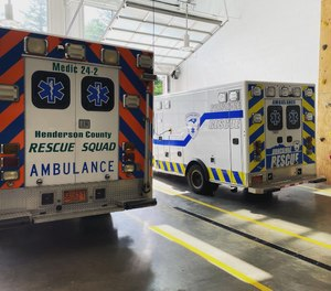 EMTs Lindsey Burgess and Savannah Selby are receiving treatment in a local hospital following a crash in which a car struck their ambulance.
