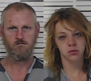 Raymond Jesse Collins Jr., left, 41, and Tatum Michelle Moffett, 24, were arrested in a string of arson fires Wednesday morning, one of which injured a firefighter. (Photo/Henderson County)