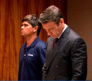 Jacob Maldonado, left, stands with his attorney Jason Burks in court in Honolulu on Wednesday, Feb. 27, 2019. A day earlier, Maldonado was on jury duty when he screamed
