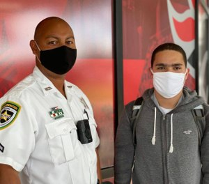 Deputy Pedro Colon and the student he saved, David Nieves, pose for a photo. (Photo/Hillsborough County Sheriff's Office)