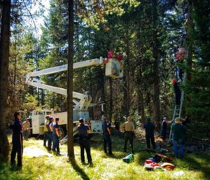 A 70-year-old Oregon hunter was rescued after hanging upside-down for two days about 30 feet above ground. (Photo/Umatilla County Sheriff's Office)
