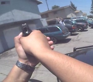 A still image of body-worn camera footage released by the Rialto Police Department.